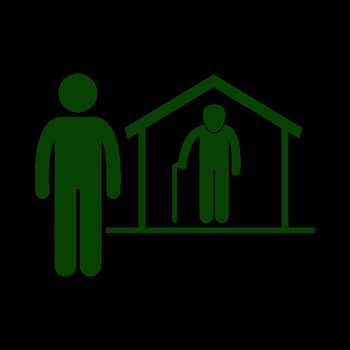 Piktogramm: Ein Mensch steht neben einem Haus. Im Haus steht ein Mensch mit Gehstock.