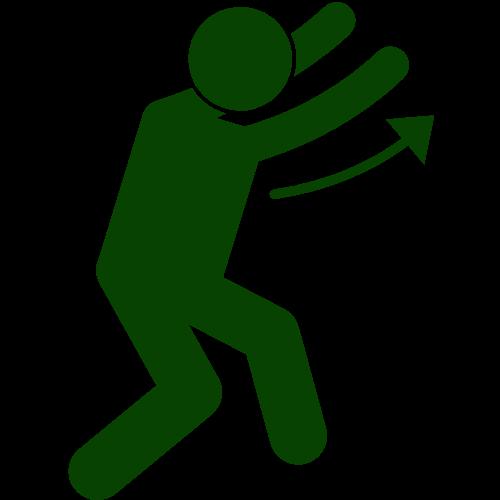 Piktogramm: Ein Mensch weist mit den Armen nach oben. Die Armbewegung wird durch einen Pfeil symbolisiert.