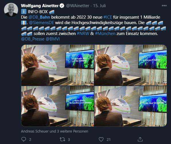 Screenshot eines Tweets von Wolfgang Ainetter vom 15. Juli. Im Text sind unter anderem 30 Zug-Emojis zu sehen. Die relevanten Punkte werden im Blog-Text aufgegriffen. Unten angehängt vier Bilder von Andreas Scheuer, der auf einen Monitor schaut.