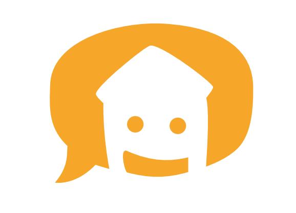 Logo von WOHN:SINN. Eine orangefarbene Sprechblase, darin ein weißes Haus mit Augen und einem Lächeln.