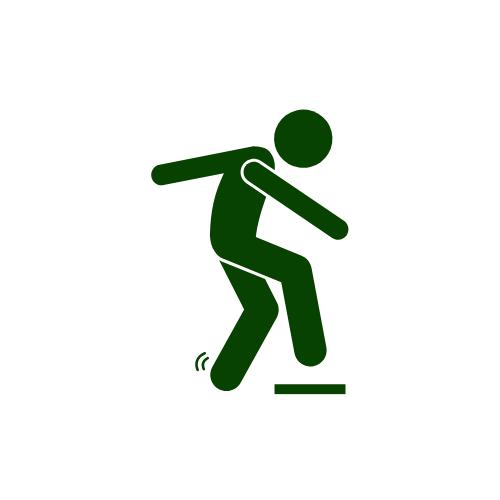 Piktrogramm: Ein Mensch macht einen Schritt nach vorn, das Standbein wackelt.